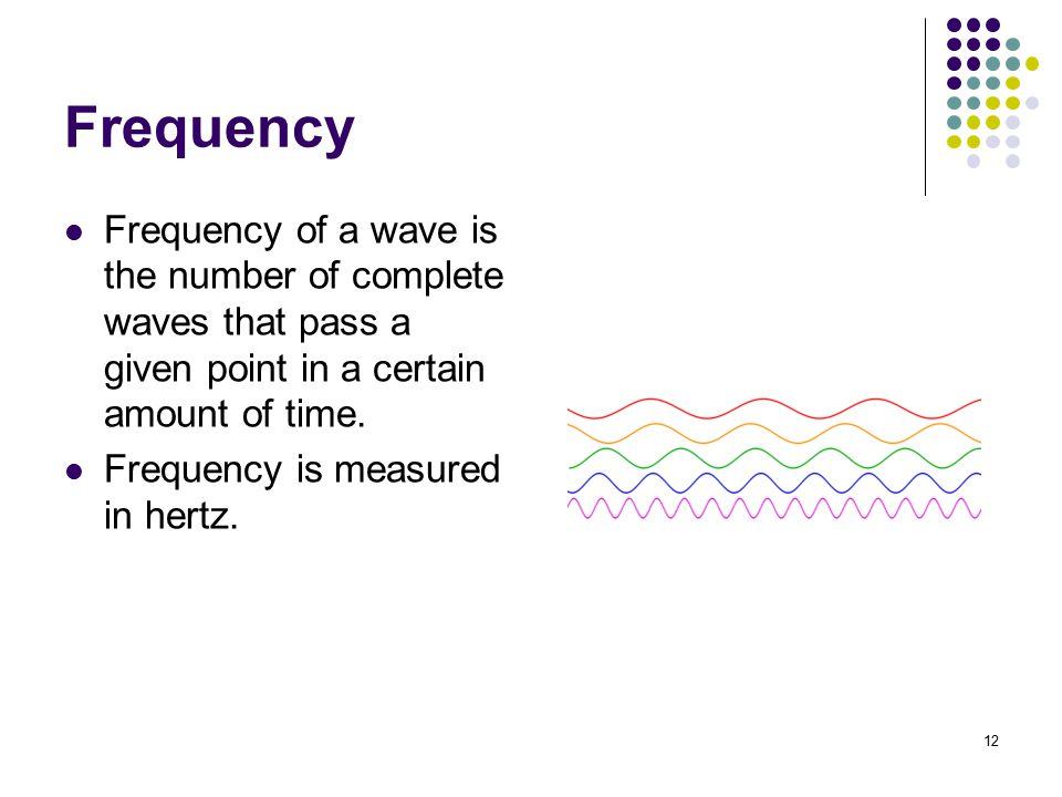 Frequency Frequency of a wave is the number of complete waves that pass a given point in a certain amount of time.