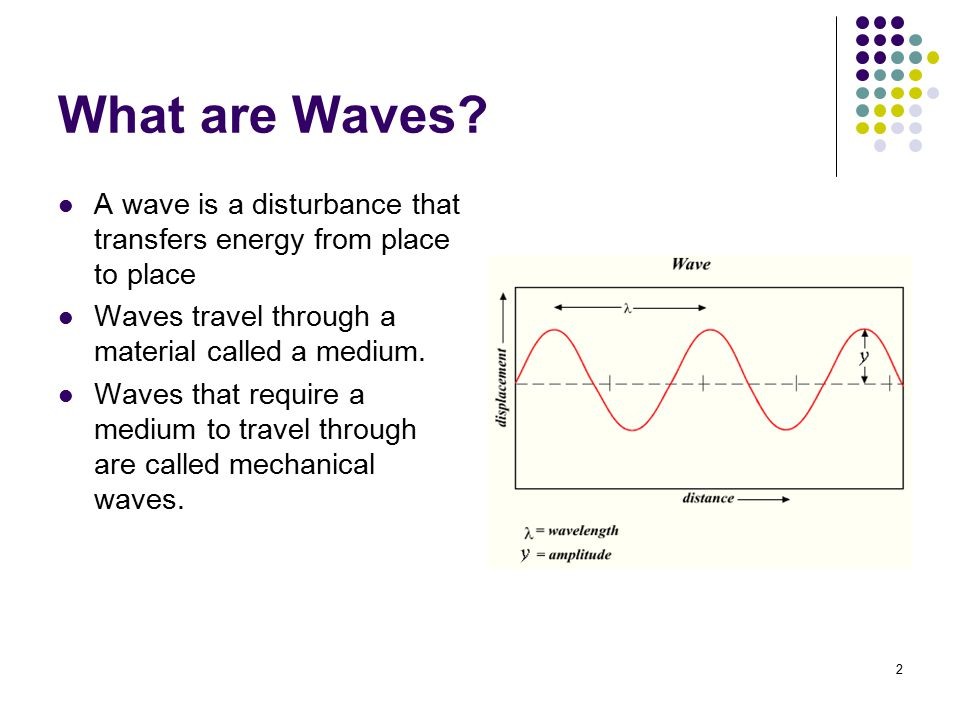 What are Waves A wave is a disturbance that transfers energy from place to place. Waves travel through a material called a medium.