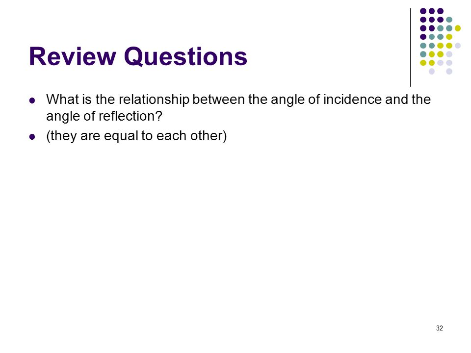 Review Questions What is the relationship between the angle of incidence and the angle of reflection
