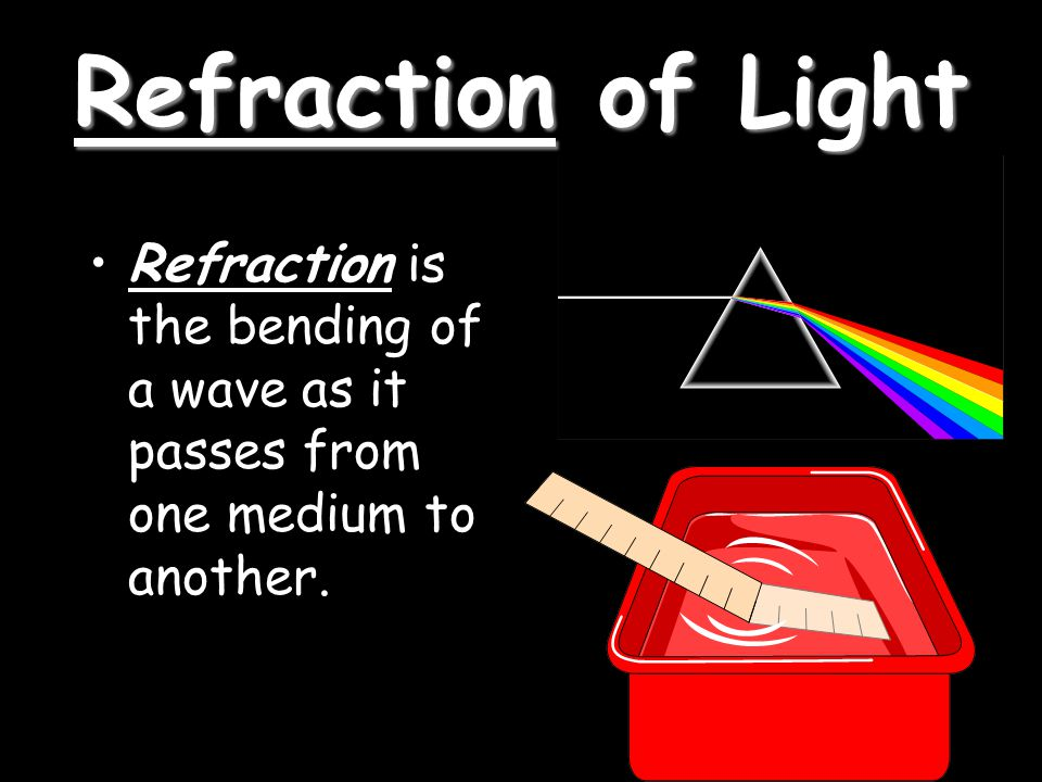 Refraction of Light Refraction is the bending of a wave as it passes from one medium to another.