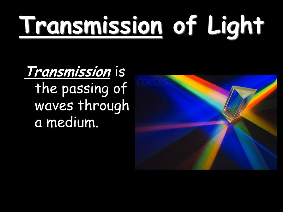 Transmission of Light Transmission is the passing of waves through a medium.