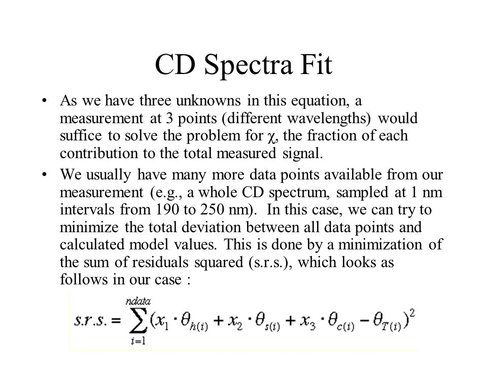 CD Spectra Fit