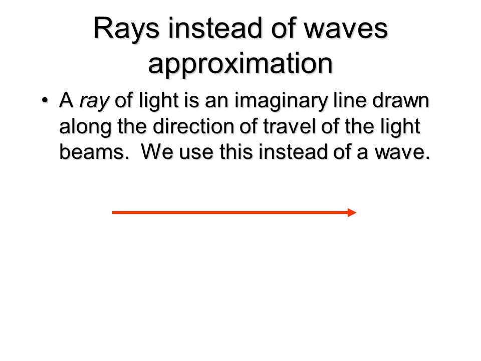 Rays instead of waves approximation