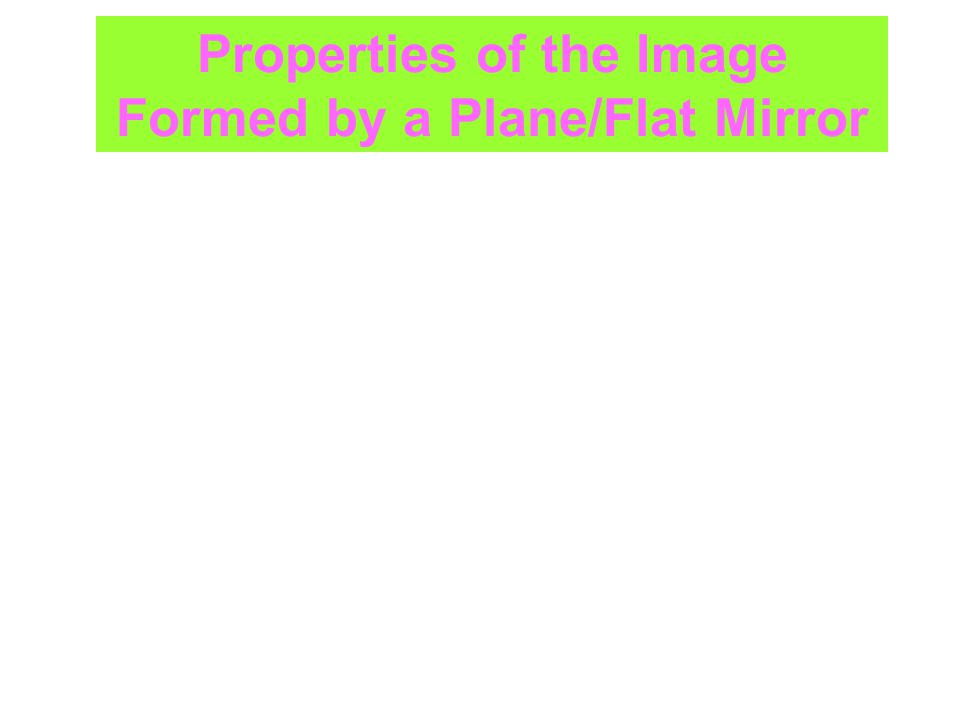 Properties of the Image Formed by a Plane/Flat Mirror