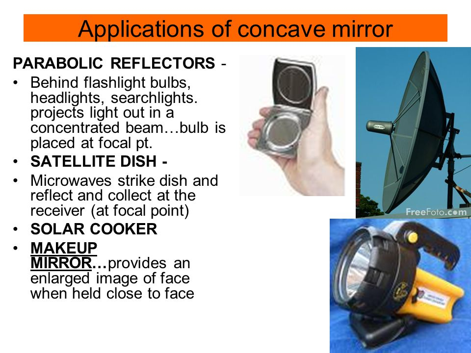 Applications of concave mirror