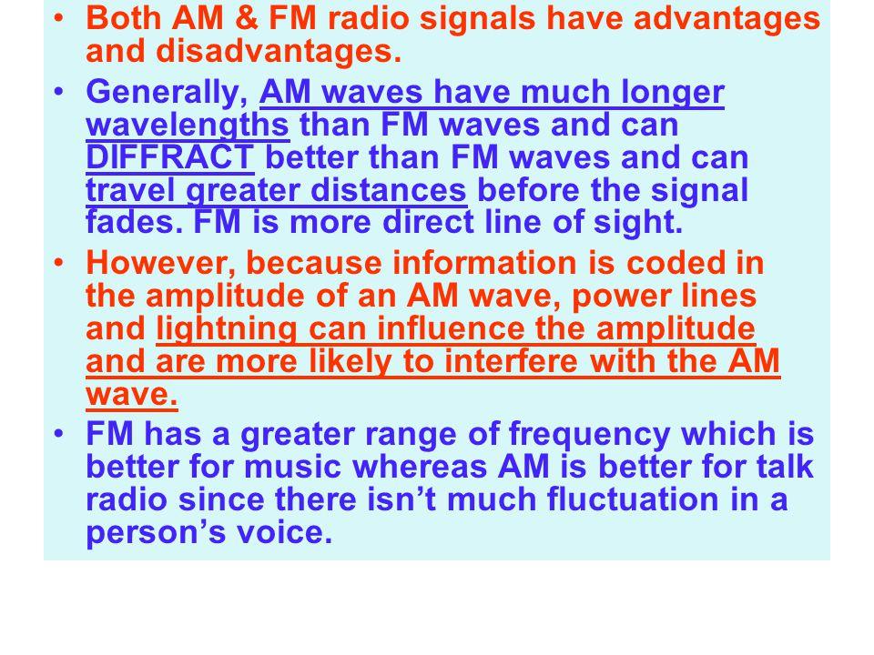 Both AM & FM radio signals have advantages and disadvantages.