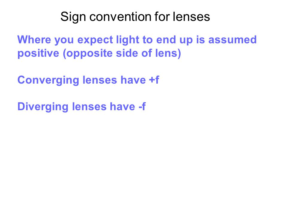 Sign convention for lenses