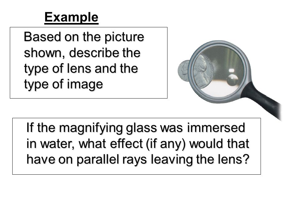 Example Based on the picture shown, describe the type of lens and the type of image.