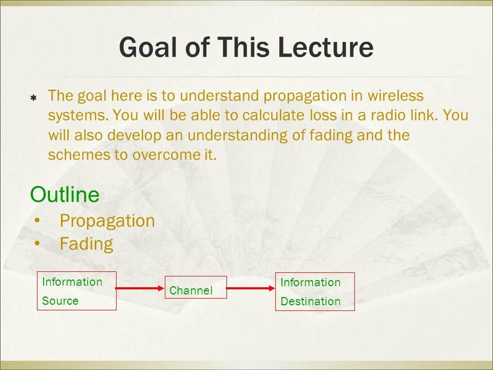 Goal of This Lecture Outline Propagation Fading