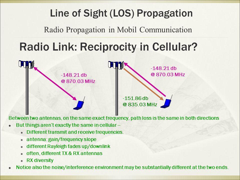 Radio Link: Reciprocity in Cellular