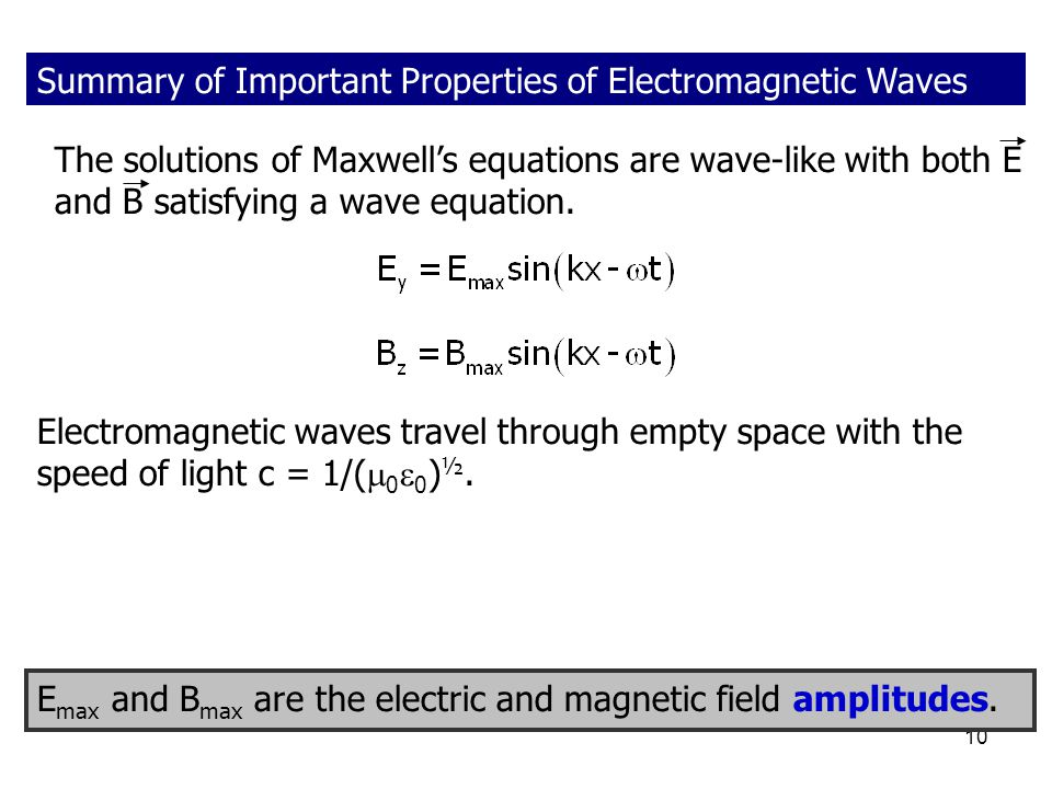Summary of Important Properties of Electromagnetic Waves
