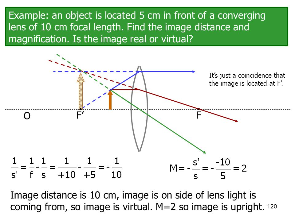 Example: an object is located 5 cm in front of a converging lens of 10 cm focal length. Find the image distance and magnification. Is the image real or virtual