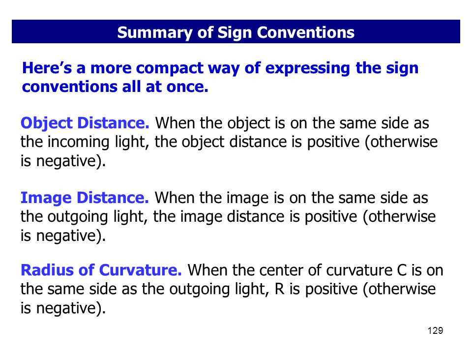 Summary of Sign Conventions