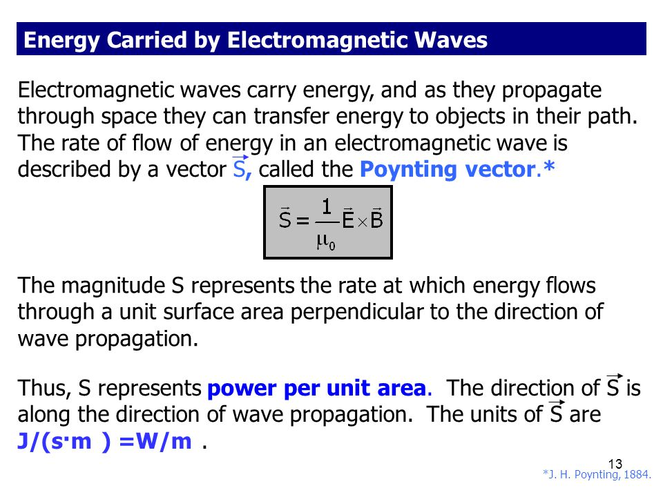 Energy Carried by Electromagnetic Waves