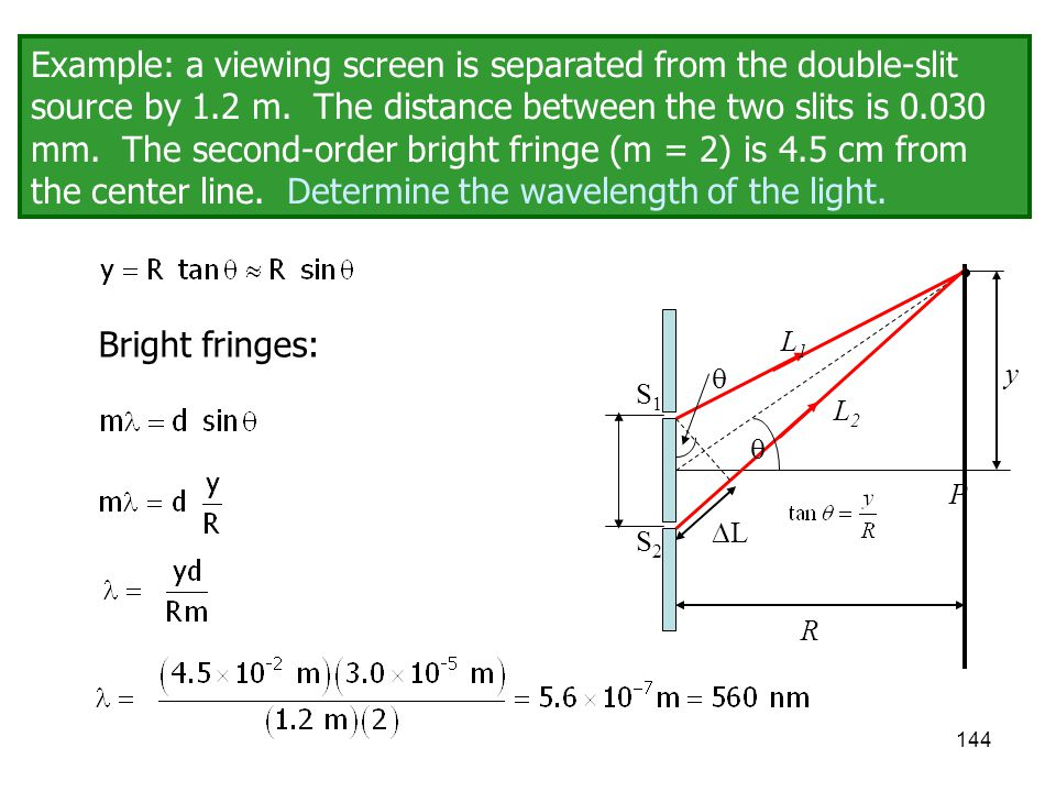 Example: a viewing screen is separated from the double-slit source by 1.2 m. The distance between the two slits is 0.030 mm. The second-order bright fringe (m = 2) is 4.5 cm from the center line. Determine the wavelength of the light.