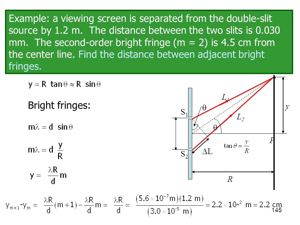 Example: a viewing screen is separated from the double-slit source by 1.2 m. The distance between the two slits is 0.030 mm. The second-order bright fringe (m = 2) is 4.5 cm from the center line. Find the distance between adjacent bright fringes.
