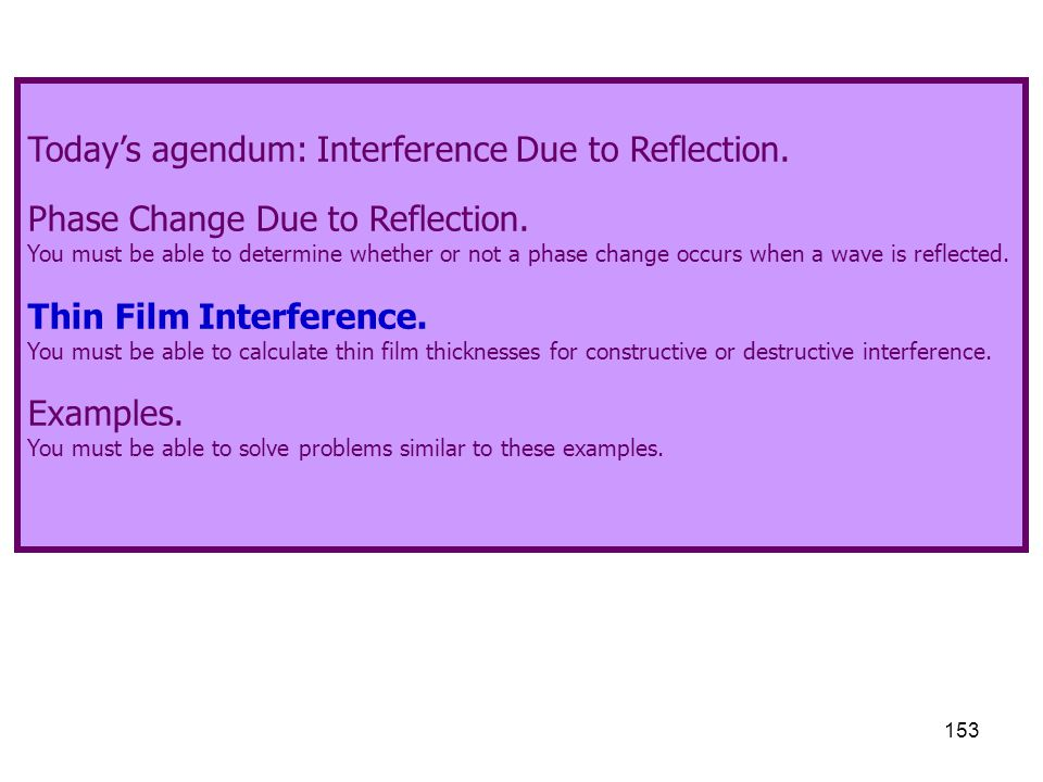 Today's agendum: Interference Due to Reflection.