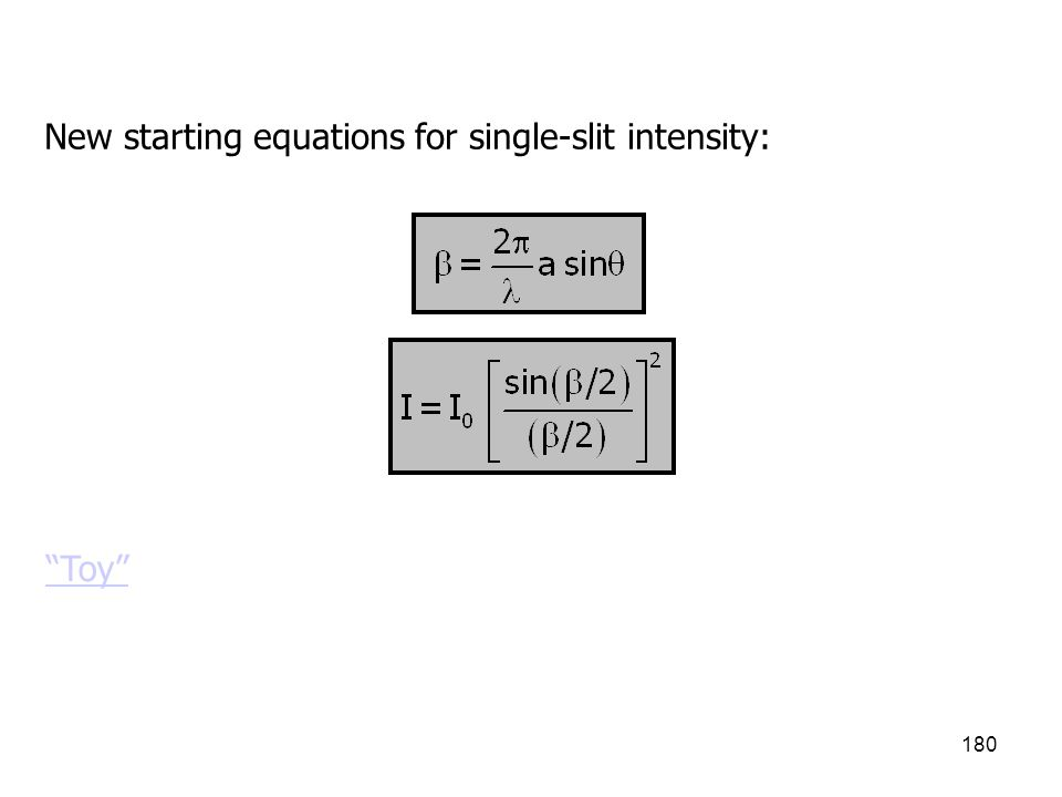 New starting equations for single-slit intensity: