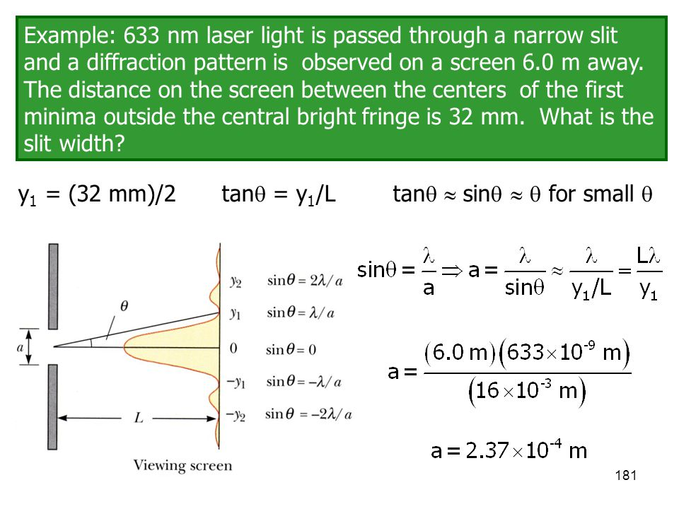 Example: 633 nm laser light is passed through a narrow slit and a diffraction pattern is observed on a screen 6.0 m away. The distance on the screen between the centers of the first minima outside the central bright fringe is 32 mm. What is the slit width