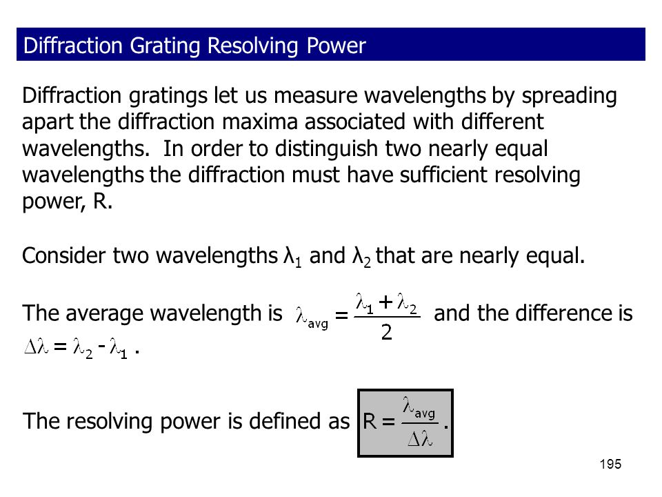 Diffraction Grating Resolving Power