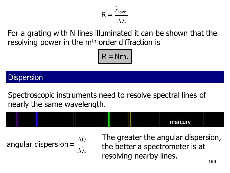 For a grating with N lines illuminated it can be shown that the resolving power in the mth order diffraction is