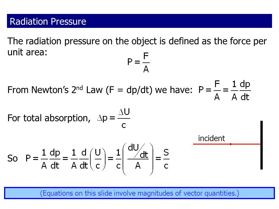 (Equations on this slide involve magnitudes of vector quantities.)