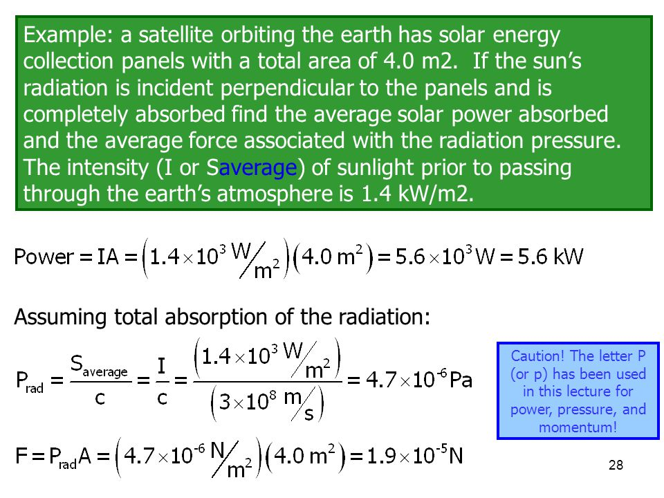 Assuming total absorption of the radiation:
