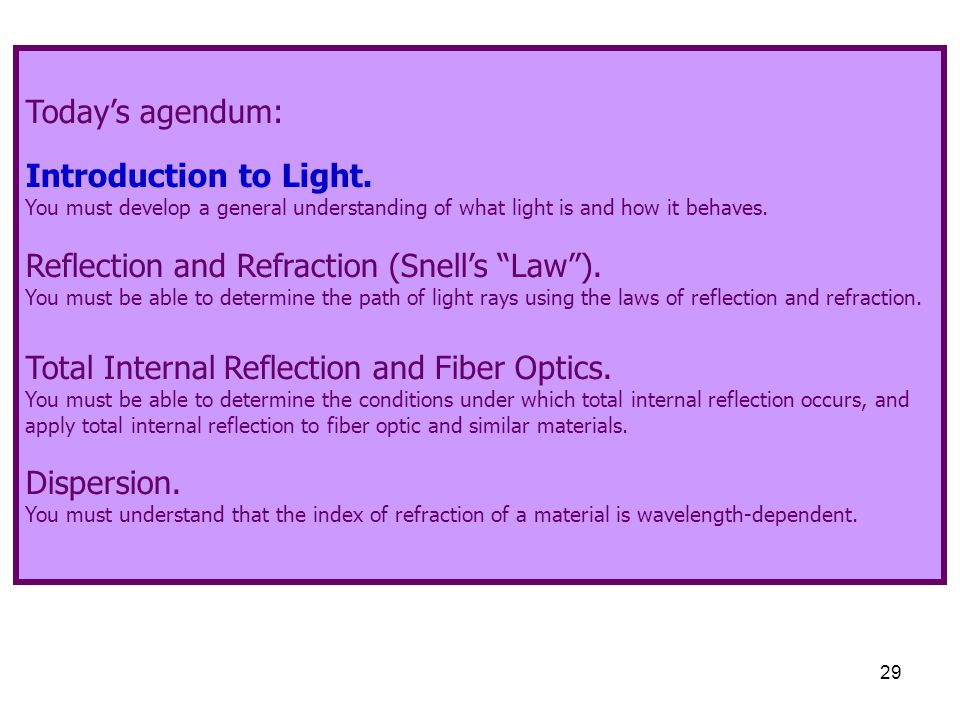 Reflection and Refraction (Snell's Law ).