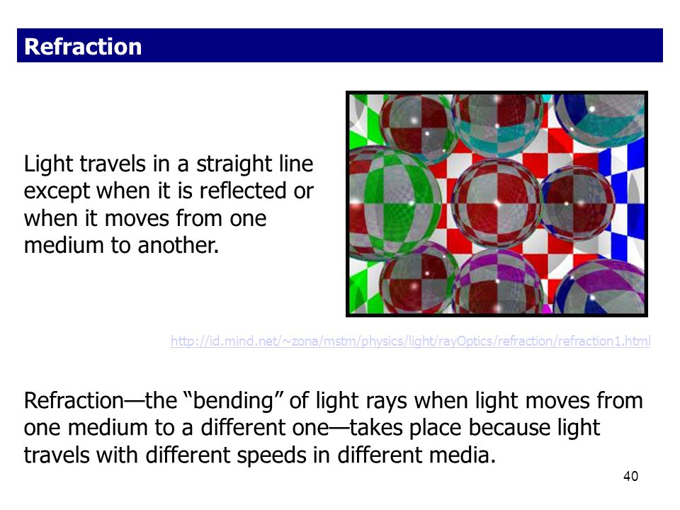 Refraction Light travels in a straight line except when it is reflected or when it moves from one medium to another.
