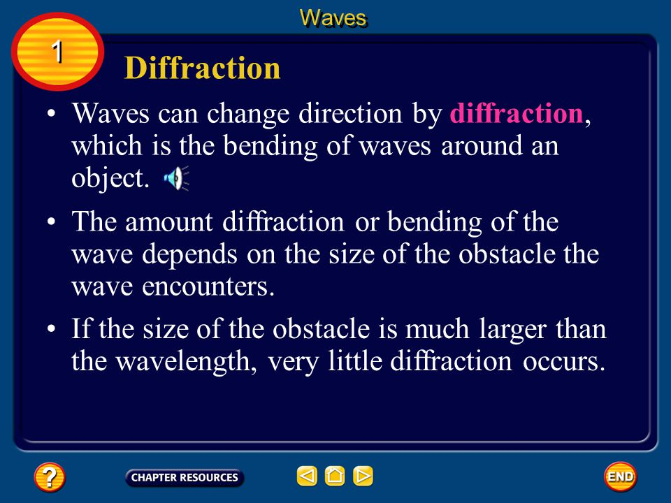 Waves 1. Diffraction. Waves can change direction by diffraction, which is the bending of waves around an object.