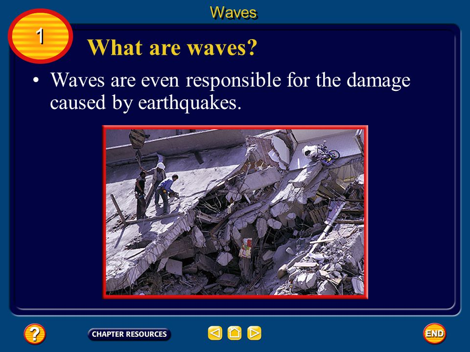 Waves 1 What are waves Waves are even responsible for the damage caused by earthquakes.