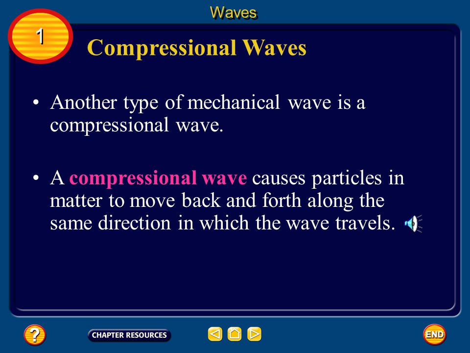 Waves 1. Compressional Waves. Another type of mechanical wave is a compressional wave.