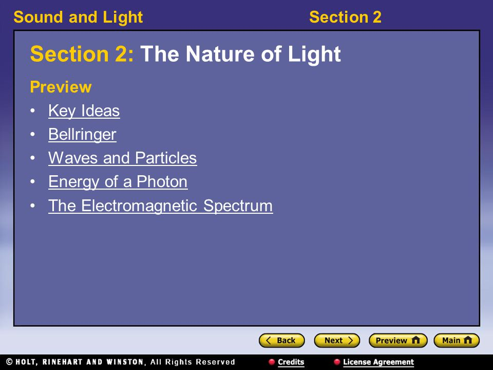 Section 2: The Nature of Light