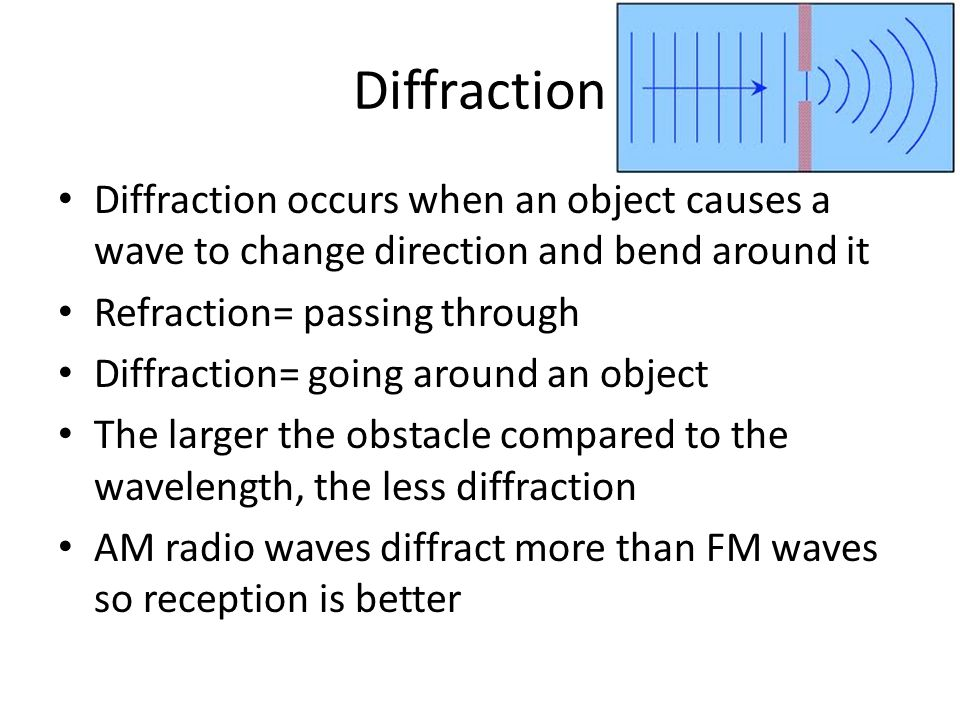 Diffraction Diffraction occurs when an object causes a wave to change direction and bend around it.