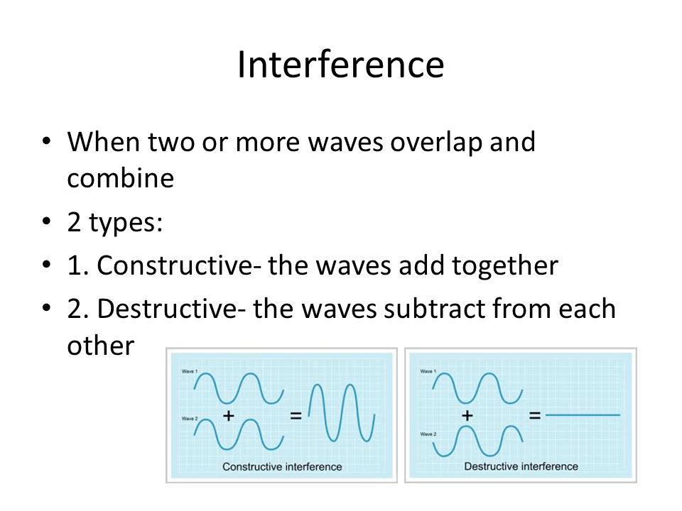 Interference When two or more waves overlap and combine 2 types: