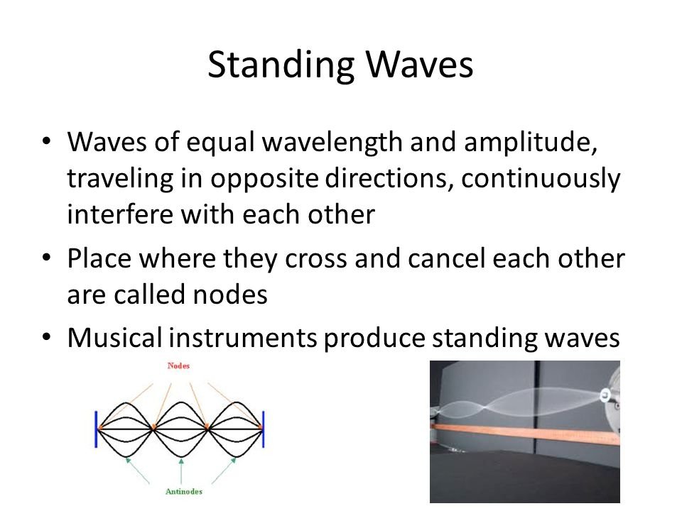 Standing Waves Waves of equal wavelength and amplitude, traveling in opposite directions, continuously interfere with each other.
