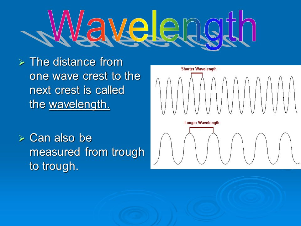 Wavelength The distance from one wave crest to the next crest is called the wavelength.
