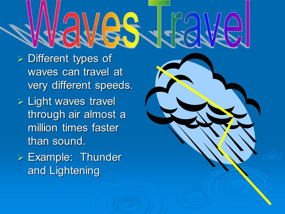 Waves Travel Different types of waves can travel at very different speeds. Light waves travel through air almost a million times faster than sound.