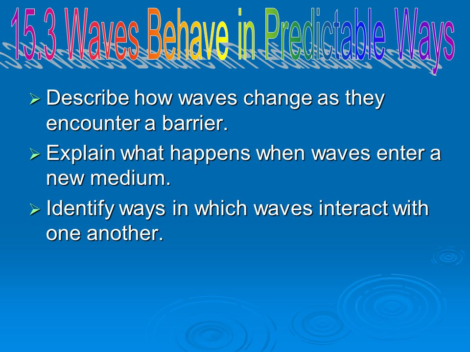 15.3 Waves Behave in Predictable Ways