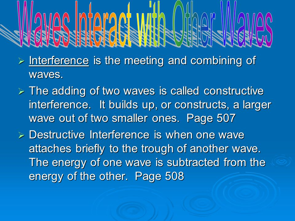 Waves Interact with Other Waves