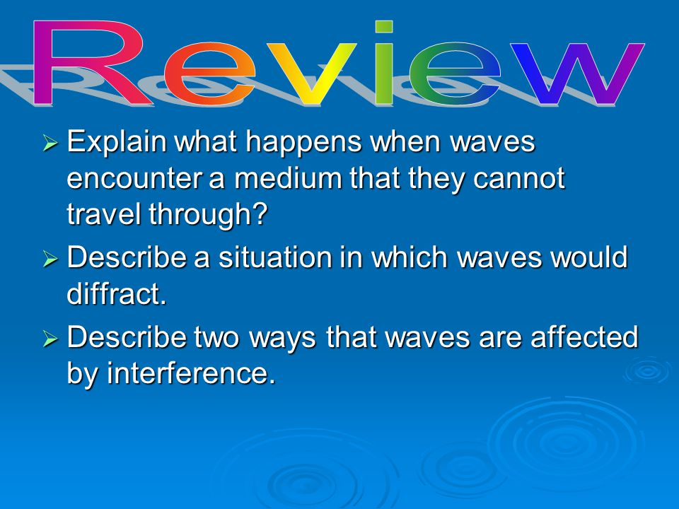 Review Explain what happens when waves encounter a medium that they cannot travel through Describe a situation in which waves would diffract.