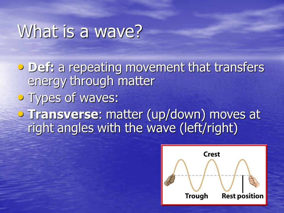 What is a wave Def: a repeating movement that transfers energy through matter. Types of waves: