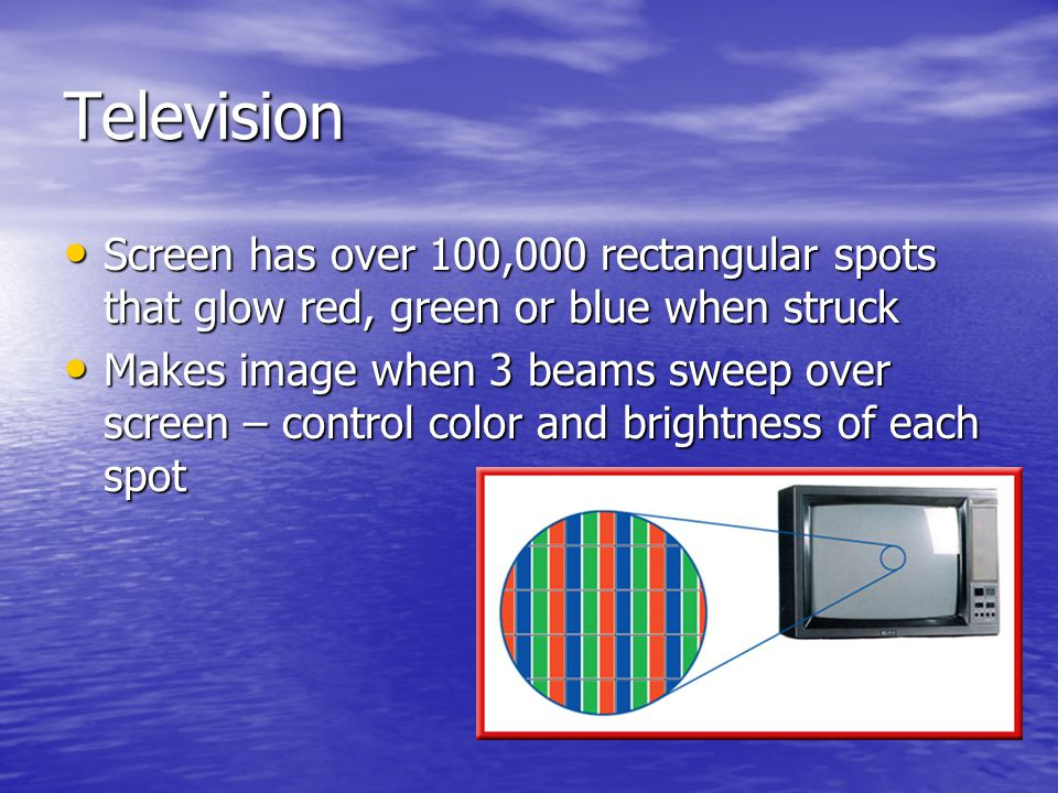 Television Screen has over 100,000 rectangular spots that glow red, green or blue when struck.