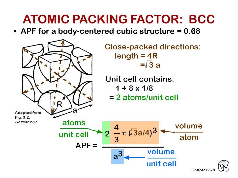 ATOMIC PACKING FACTOR: BCC
