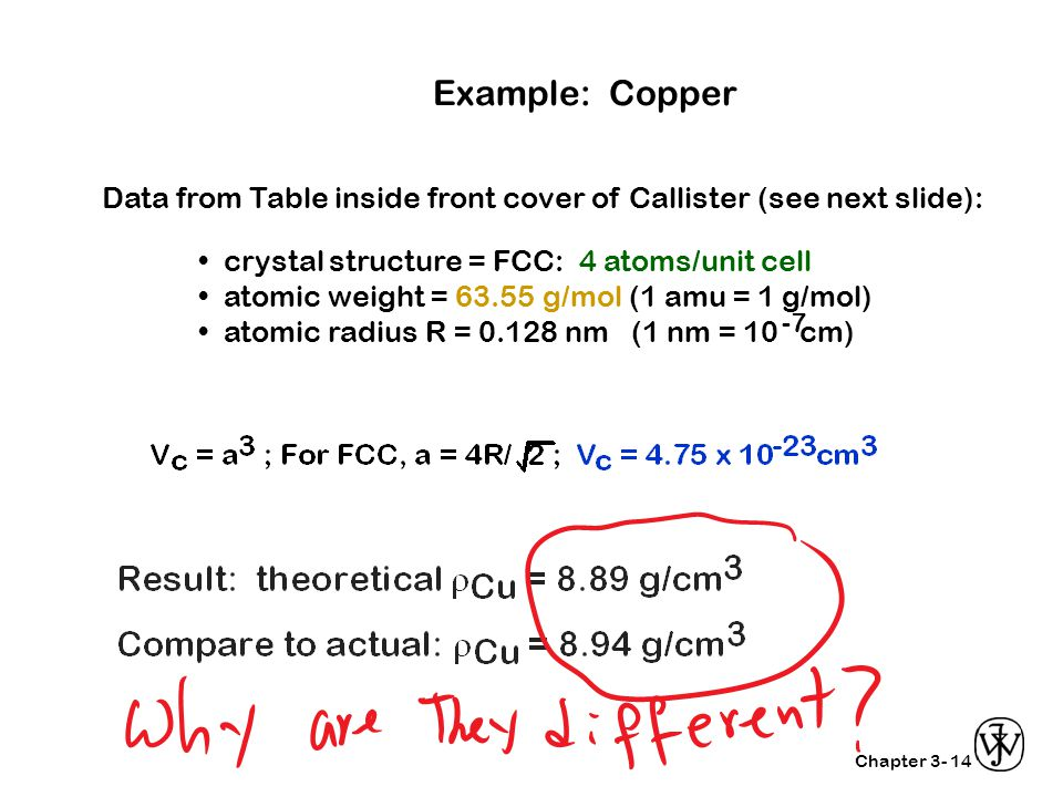 Example: Copper Data from Table inside front cover of Callister (see next slide): • crystal structure = FCC: 4 atoms/unit cell.