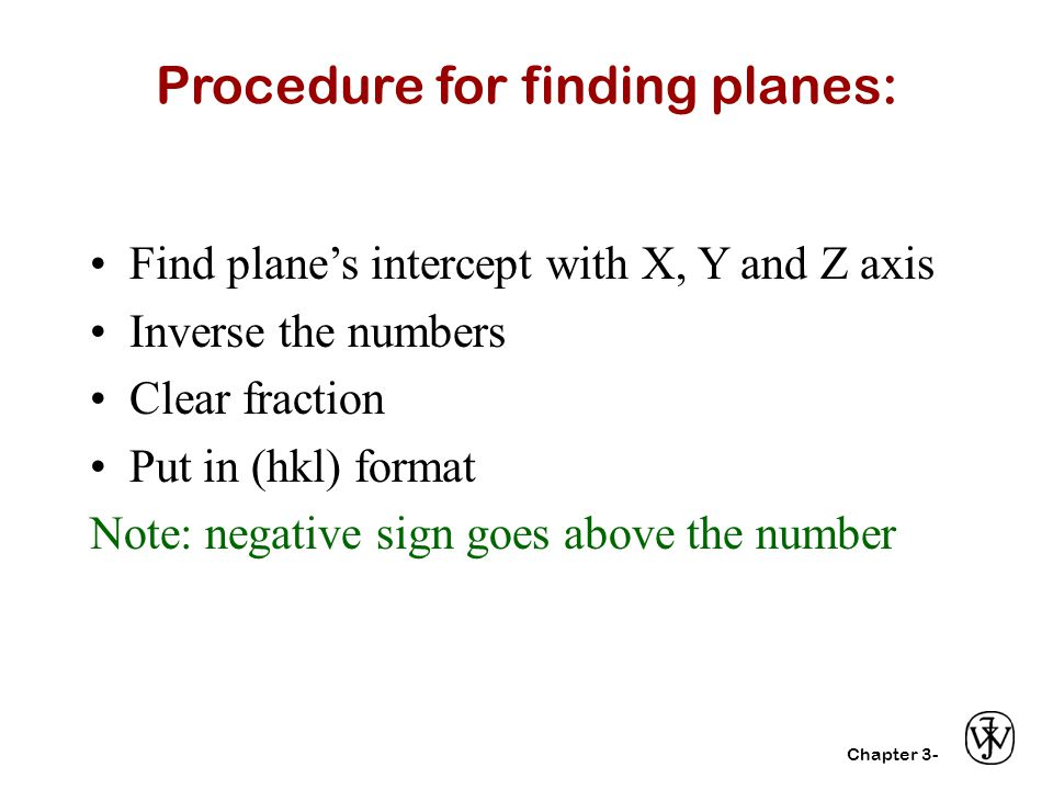 Procedure for finding planes: