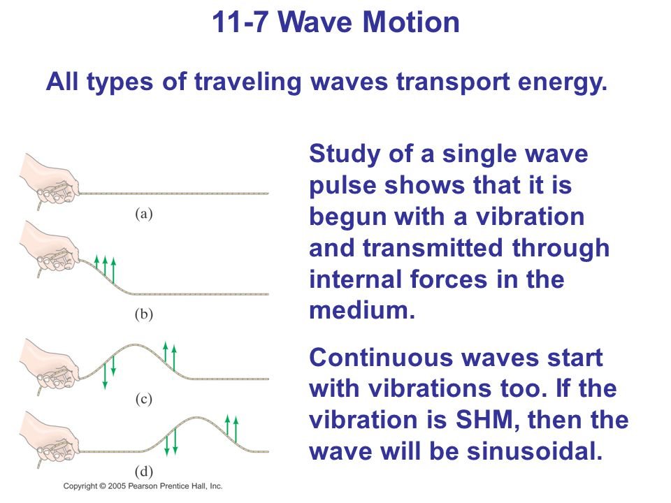 11-7 Wave Motion All types of traveling waves transport energy.