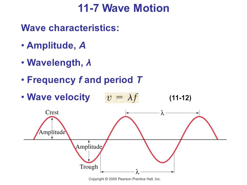 11-7 Wave Motion Wave characteristics: Amplitude, A Wavelength, λ