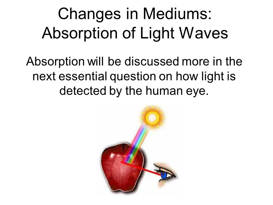 Changes in Mediums: Absorption of Light Waves