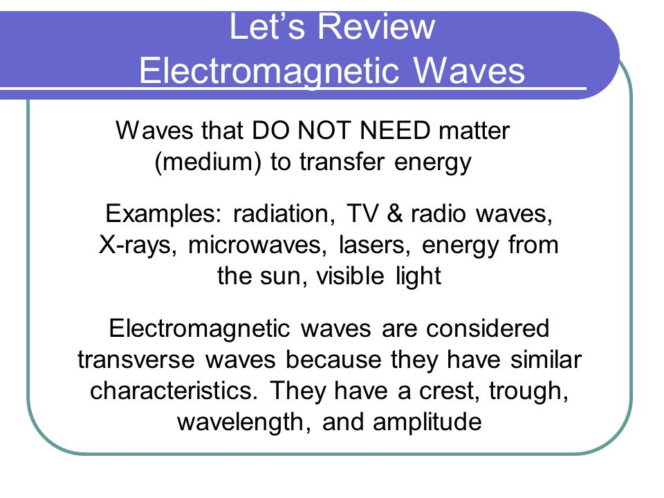 Let's Review Electromagnetic Waves